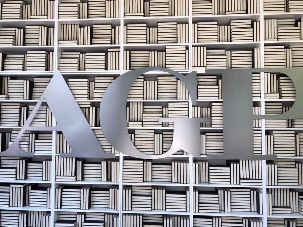 Metal Letters on Bookshelves